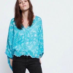 Zadig & Voltaire Blue Paisley Cotton Top